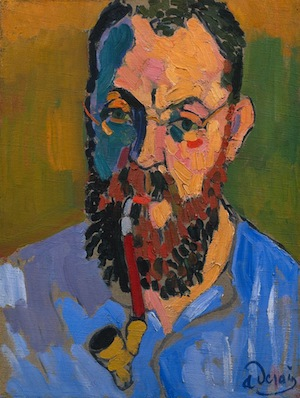 Matisse smoking a pipe. The strokes of the painting are wide and clearly visible, with raised ridges creating a rougher texture on the artist's face.