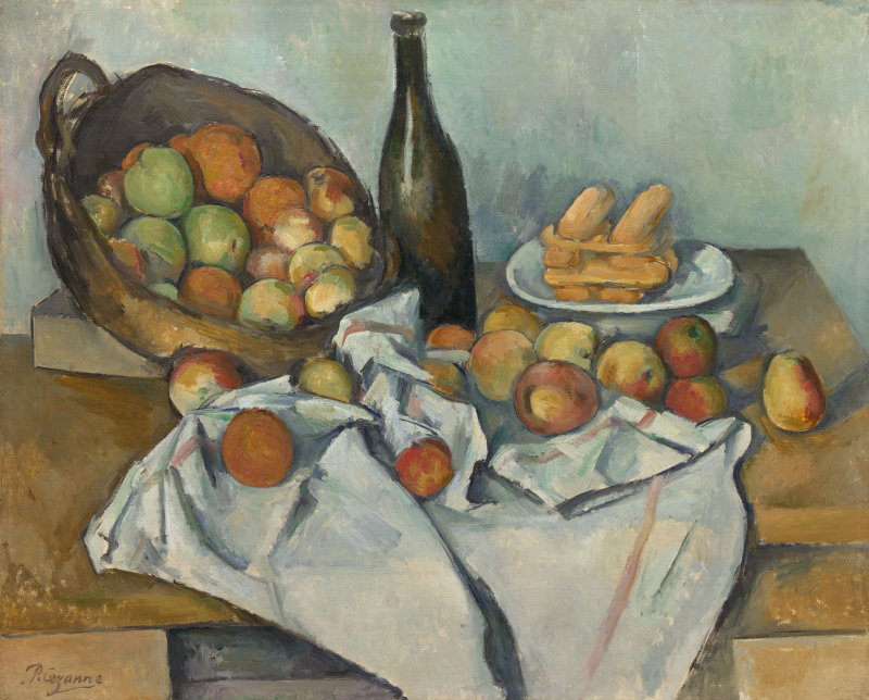 The basket of apples rests on its side in the left background of the painting. Some apples have spilled out of the basket onto a white cloth in front of the basket. A bottle and plate of bread stands next to the basket in the background.