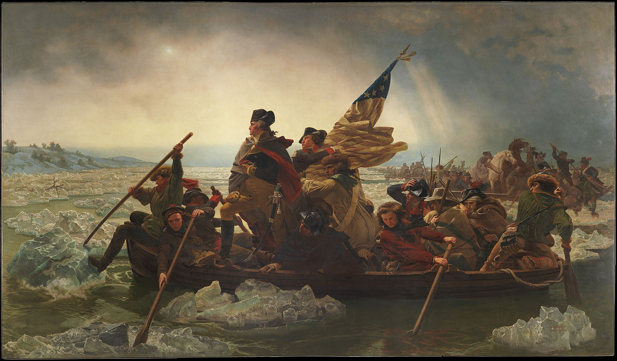 General Washington stands upright in a rowboat that is crossing a frozen river. He is emphasized by an unnaturally bright sky, while his face catches the upcoming sun. The people in the boat represent a cross-section of the American colonies, including a man in a Scottish bonnet and a man of African descent, western riflemen at the bow and stern, two farmers in broad-brimmed hats near the back, and an androgynous rower in a red shirt, possibly meant to be a woman in man's clothing. There is also a man at the back of the boat wearing what appears to be Native American garb.