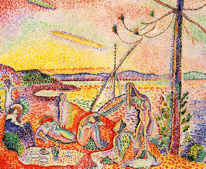 The entire painting is made up of points or circles of vibrant primary and secondary colors. A scene of seven nudes, appearing to be women, or feminine in shape. They stand on a beach with body of water to their right. Mountains can be seen in the far distance.