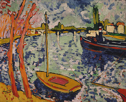 A boat on a river. The river curves sharply, and its left bank is lined with trees. The colors of the painting are bright—the trees almost orange, and the boat is red and yellow. The sky and river are made with the same blues, aquas, and whites. The strokes, especially in the sky and river, are broad and short.