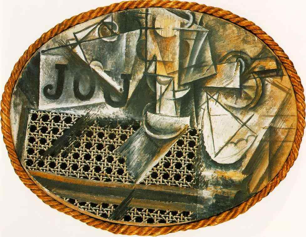 The painting over the chair caning is composed of abstract shapes and the letters J O U.