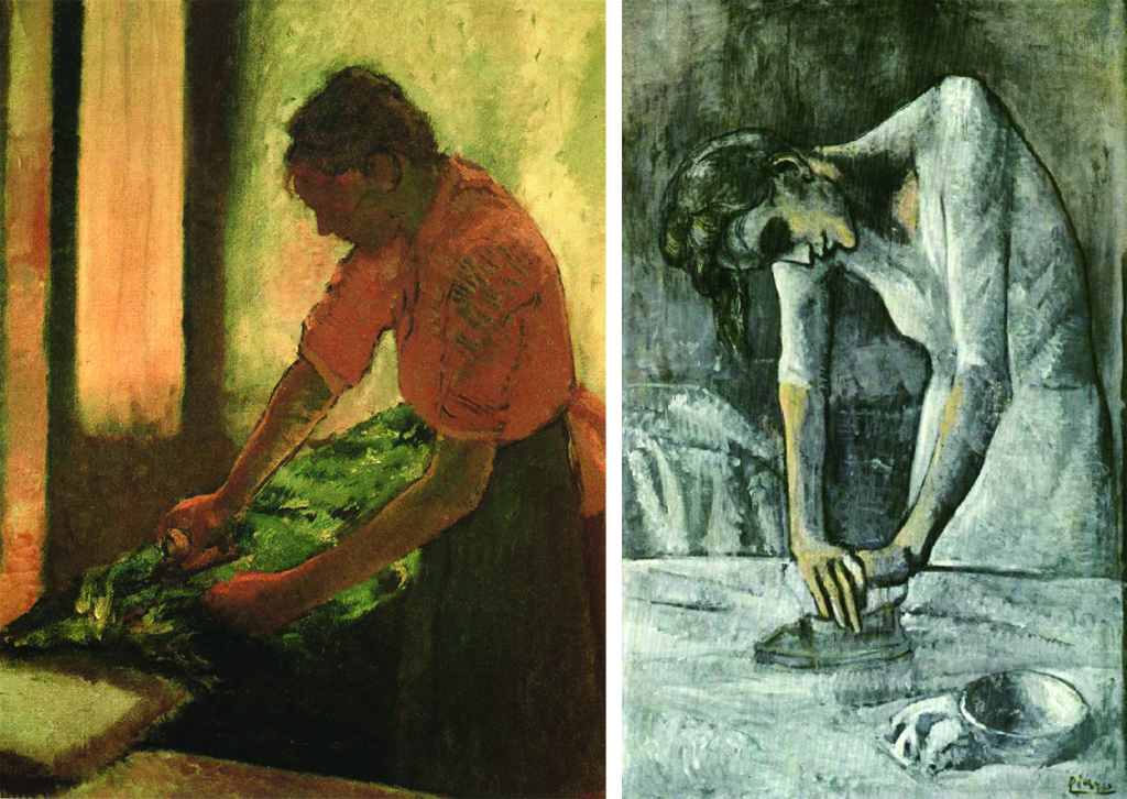 A side-by-side comparison of Degas's and Picasso's works. Degas painted a woman from the side, and his painting features softer lines with warmer colors. Picasso's woman is painted with her shoulders toward the viewer. She is more angular, and the painting is almost entirely made of whites and light blues.