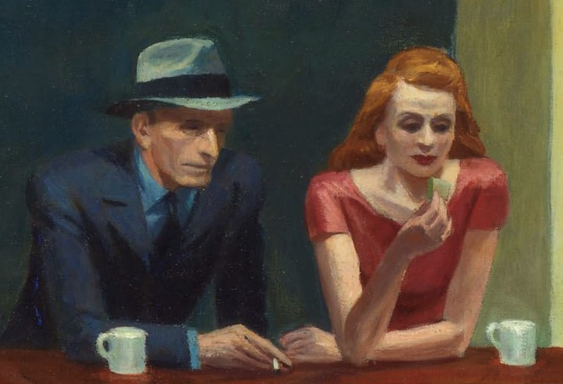 A man and a woman sitting next to each other at a bar counter. They each have a mug sitting in front of them. Neither is looking at the other person.