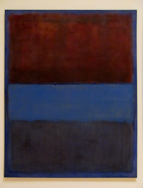 A blue canvas with a bright, deep maroon rectangle on the top third, with a slightly lighter blue rectangle beneath it, with a desaturated dark purple rectangle below that.