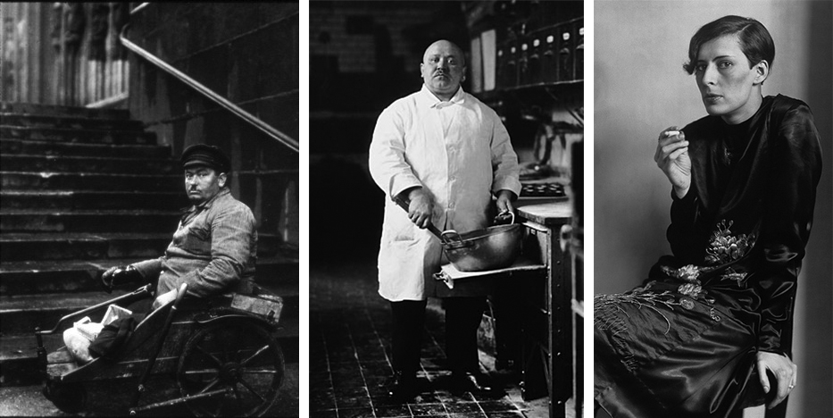 Three photographic black and white portraits. In the first, a wheelchair-ridden man sits in his chair at the bottom of an outdoor staircase. In the second, a chef looks directly at the camera, holding onto a large mixing bowl that's resting on the counter. In the third, a secretary sits on a chair, one had on the seat, the other raised as she smokes. None of the subjects of the portraits are smiling.