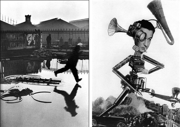 A two part image. Part 1, Behind the Gare Saint Lazare, is an early black and white photograph capturing motion. The man in the photograph is blurred, his body frozen hovering over water, his reflection clearly visible below him. Part 2, The Roving Reporter, is a black and white photomontage. The montage has taken a man's face and built him a body made of pens, typewriters, and other machinery. His right eye has been replaced by a full camera. This robotic form walks over mountains, buildings, and crowds causing the reporter to appear on a massive scale.