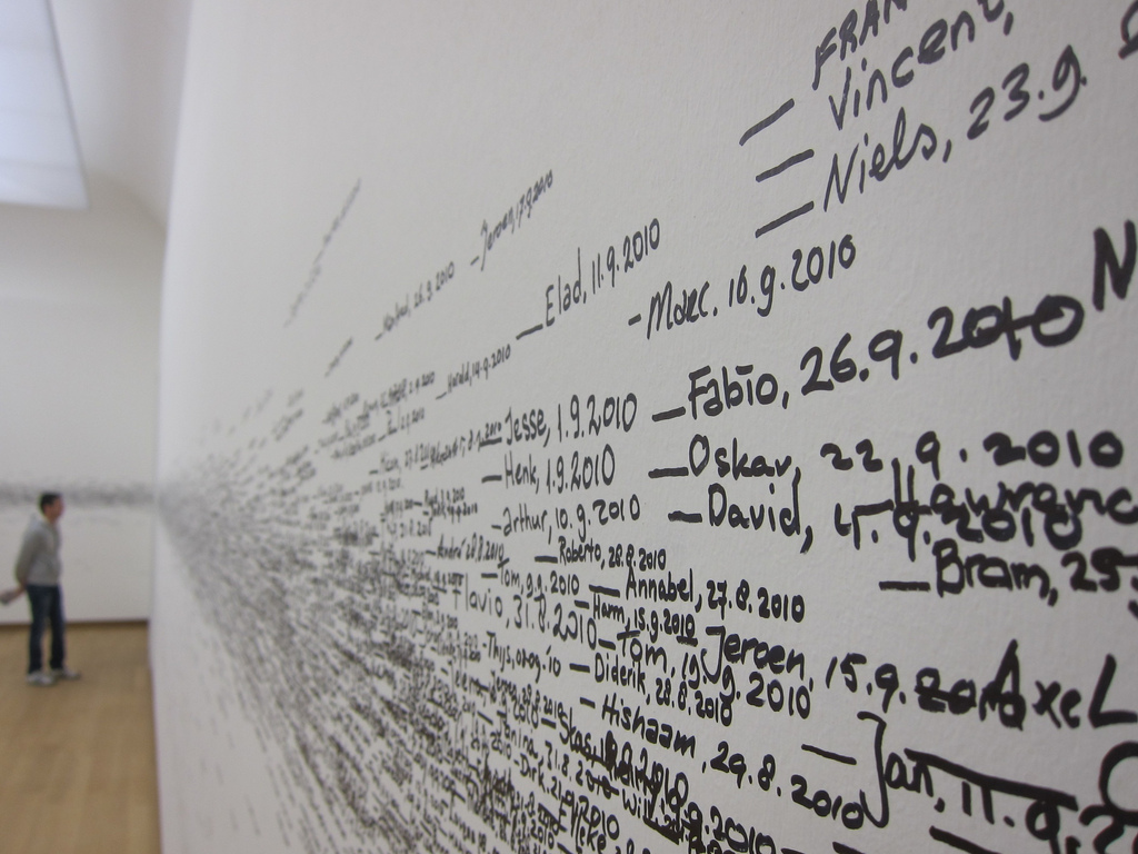 Several small lines. Peoples names and a date are written next to each line. The lines and words overlap each other, especially in the center portion of the line. Lines higher or lower on the wall stand out much more. These lines create a non-uniform stripe around the whole room.