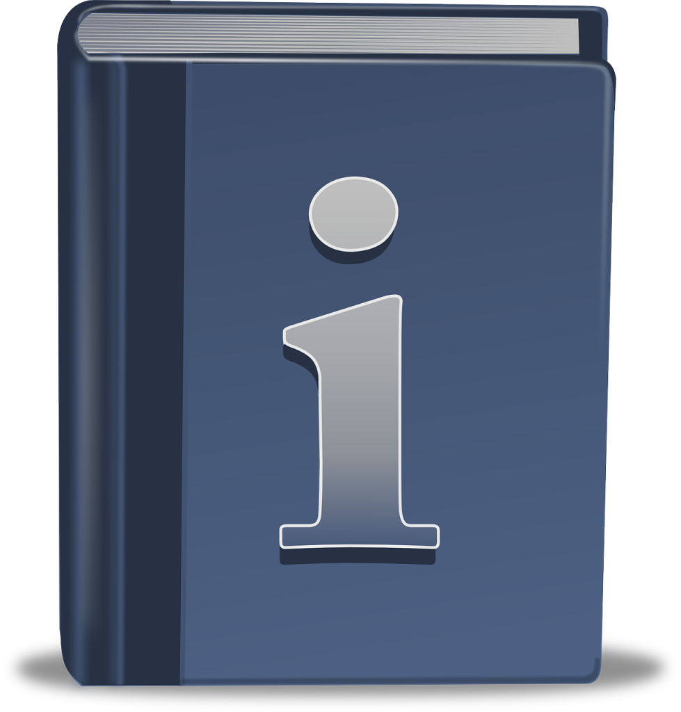 book with an information icon on the cover