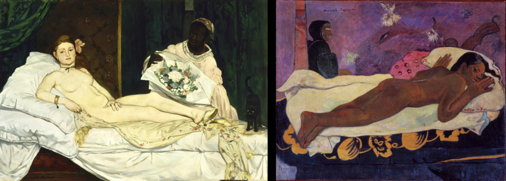 A side-by-side comparison of Olympia and Spirit of the Dead Watching. In Olympia, the young woman is reclined on her back, looking directly at the viewer of the painting, with her full face visible. She has a hand placed on her right thigh, which is closest to the viewer. The background is a clearly defined bedroom; the wallpaper and bed curtains are distinctly shaped. In Spirit of the Dead Watching, the young woman is lying on her stomach. Her face remains on the pillow while she looks over her shoulder at the viewer. The background is more abstract, with vague outlines of animals and shapes. There is a pillar by the bed, but the rest is ambiguous in its forms.