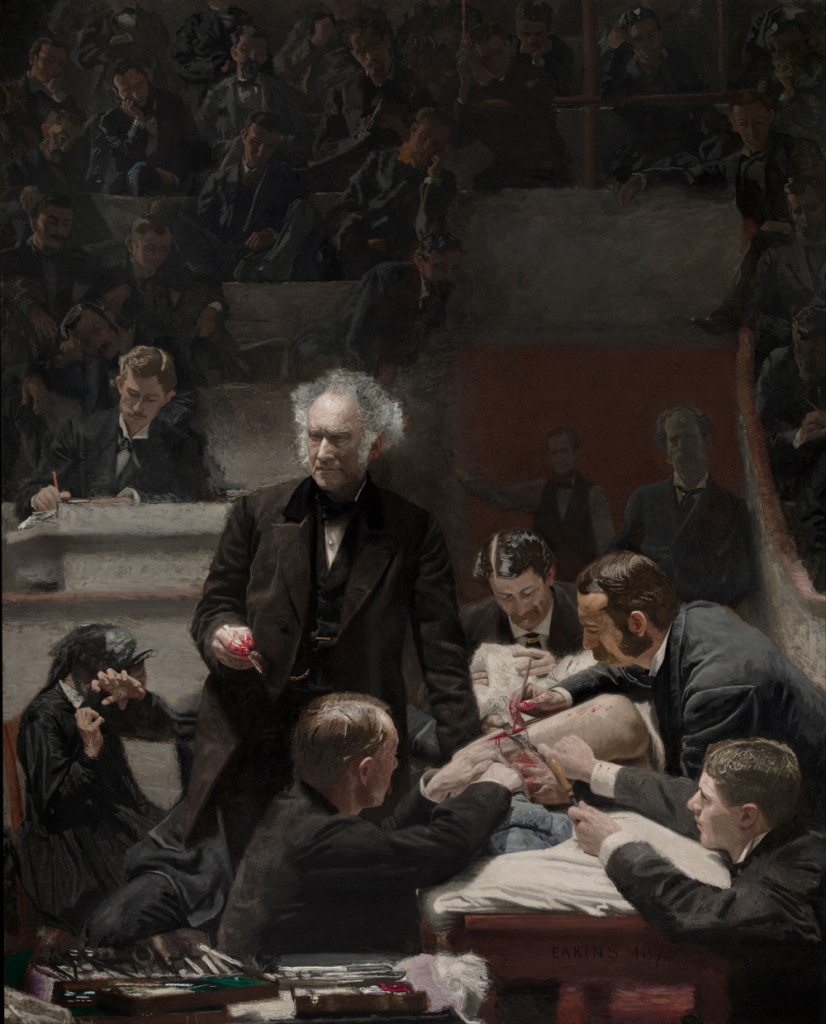 A portrait of Doctor Samuel D. Gross giving a lecture at a live surgery. The only part of the patient visible is his or her leg, the rest of the individual is obscured. Three men are operating on the leg while a fourth lifts a blanket, presumably to watch the patient's face. Doctor Gross stands to the side addressing the audience. Behind Doctor Gross, a man is seated taking notes, and a larger audience sits behind him. A few of the spectators lean over the benches to get a better view. However, one man to Doctor Gross's right covers his eyes to avoid the gore of the operation. The painting is clinical, showing a minimal but realistic level of blood.