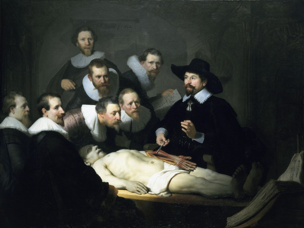 Seven men, all dressed in formal scholarly clothes, gather around a cadaver. Doctor Nicolaes Tulp has opened the cadaver's arm and is showing the musculature and bone structure.