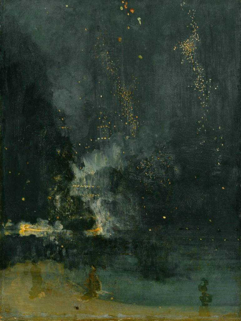 An abstract painting featuring a primarily black background with Gold and faint blue highlights. There is a suggestion of a body of water with something massive floating on its surface.
