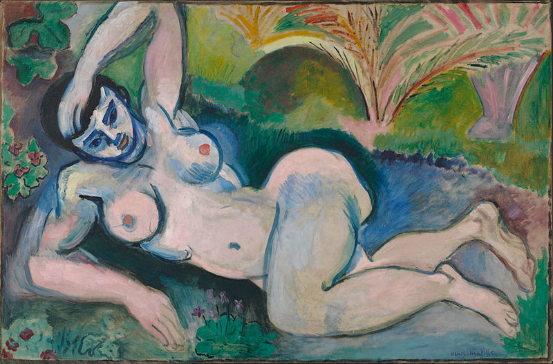 A nude female painting. The figure is blue and a little abstract. The woman reclines, leaning on one arm with the other thrown over her head.