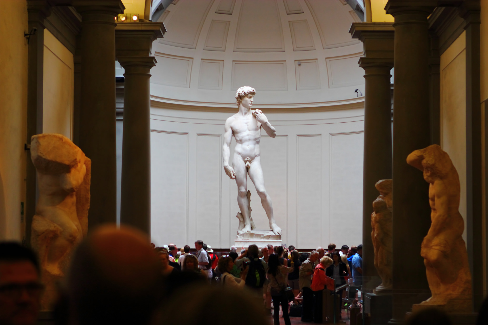 The David standing in a large circular room. The statue is raised on a pedestal, so it is not obstructed by the large crowd gathered in front of it.