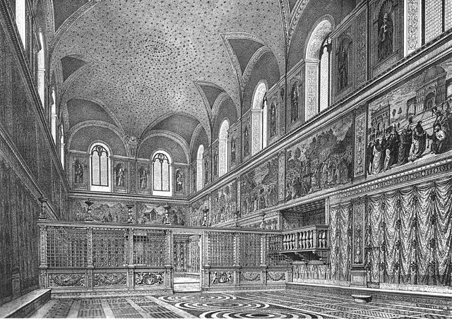 An engraving which attempts to reconstruct the probable appearance of the interior of the Sistine Chapel before the internal reorganisation, the moving of the screen; and the painting of the ceiling and Last Judgement by Michelangelo.