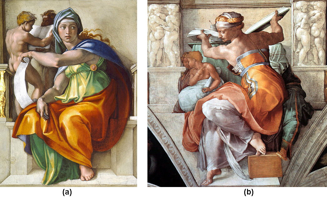 A two-part image. In figure a, The Delphic sybil sits on a low stone wall holding an unravelled scroll in one hand. This hand crosses her body, and the scroll unfurls behind her leg. In figure b, The Libyan sibyl sits with her back to us, shoulders bared by her dress. She is lifting a book and turning towards us, so her face is in profile and her feet are turned out away from the table her book was resting on. Her arms are muscular