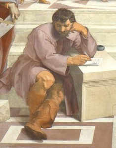 Detail of Heraclitus, whose features are based on Michelangelo's, and whose complex seated pose is based on the prophets and sibyls from Michelangelo's frescos on the Sistine Chapel ceiling