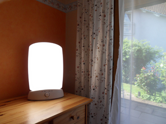 A photograph shows a bright lamp.