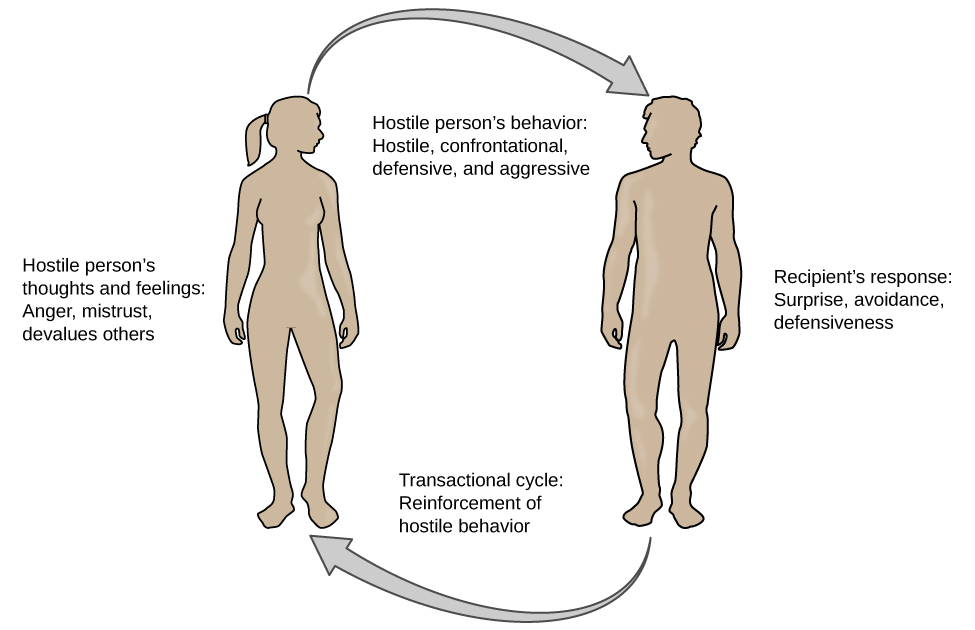 A figure showing the outlines of the female and male body represent the social interactions outlined in the transactional model of hostility. A hostile person's behavior is listed as hostile, confrontational, defensive, and aggressive. The recipient's response is surprise, avoidance, and defensiveness. The transactional cycle is reinforcement of hostile behavior, and the hostile person's thoughts and feelings are anger, mistrust, and devalues others. Arrows connecting the female and male figures show a continuous pattern.