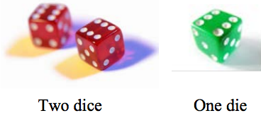 two red dice and one green die