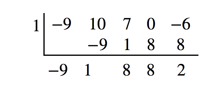 Synthetic Division of -9x^4+10x^3+7x^2-6 by x-1