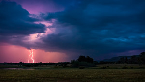 Photo of a landscape in the distance.  The horizon is in the bottom third of the image, showing a dark plains landscape with some trees central to the shot.  On the left in the sky, lightning forks from pink-tinted clouds; the clouds grow darker and more purple to the left.