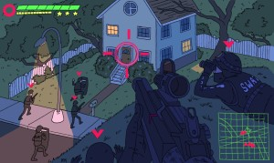 Cartoon rendering of a first-person shooter style image with a target in the middle of the picture.  The target is over a white two-story house, and SWAT members are swarming around the outside of it, at night.