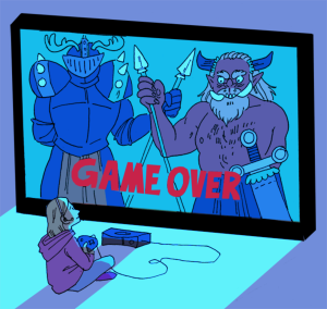 """Cartoon image of a young girl sitting in front of a giant TV screen, holding a gaming console.  On the screen is an image of a knight and a monster, overlapping spears, and the phrase """"Game Over."""""""