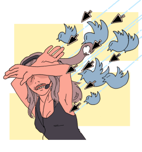 A cartoon drawing of a woman wearing a gaming headset and a black tank top, covering her eyes and head with her arms, as blue birds and mouse arrows dart out of the sky at her.  The birds are similar to the Twitter logo.