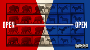 """Illustration that features four rows of six images each. On the left are black and white photos of elephants, facing right; on the right, are black and white images of donkeys, facing left. A large block of red is superimposed over most of the left; a large block of blue is superimposed over most of the right, leaving triangle-shaped cutouts of uncolored image in the center. The word """"Open"""" appears on both the left and right side, connected with a white line."""