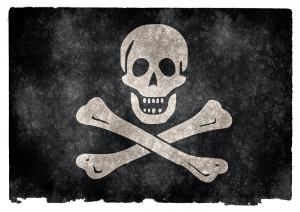 Illustration of a Skull and Crossbones pirate ship flag