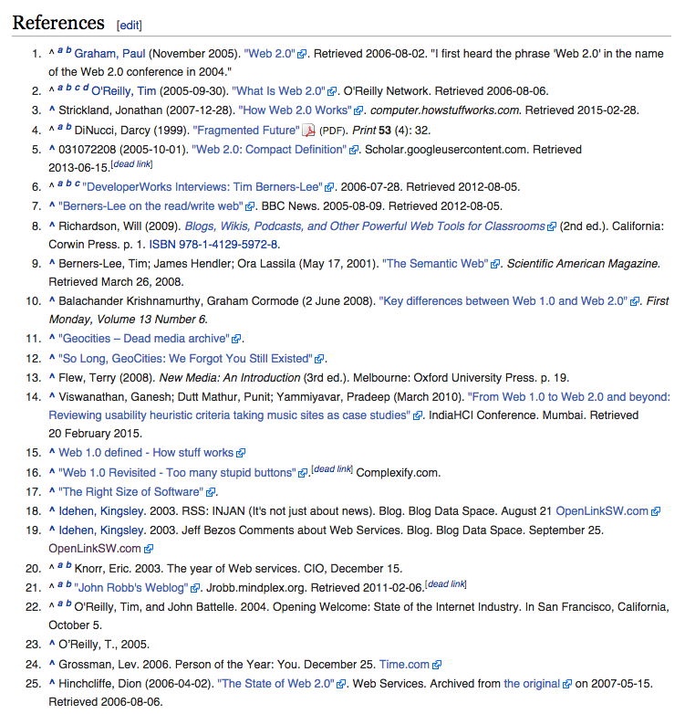"""Screenshot of the """"References"""" section of a Wikipedia article. It reads, 1. Graham, Paul (November 2005). """"Web 2.0"""". Retrieved 2006-08-02. """"I first heard the phrase 'Web 2.0' in the name of the Web 2.0 conference in 2004."""" 2.^ Jump up to:a b c d O'Reilly, Tim (2005-09-30). """"What Is Web 2.0"""". O'Reilly Network. Retrieved 2006-08-06. 3.Jump up^ Strickland, Jonathan (2007-12-28). """"How Web 2.0 Works"""". computer.howstuffworks.com. Retrieved 2015-02-28. 4.^ Jump up to:a b DiNucci, Darcy (1999). """"Fragmented Future"""" (PDF). Print 53 (4): 32. 5. Jump up^ 031072208 (2005-10-01). """"Web 2.0: Compact Definition"""". Scholar.googleusercontent.com. Retrieved2013-06-15.[dead link] 6. ^ Jump up to:a b c """"DeveloperWorks Interviews: Tim Berners-Lee"""". 2006-07-28. Retrieved 2012-08-05. 7. Jump up^ """"Berners-Lee on the read/write web"""". BBC News. 2005-08-09. Retrieved 2012-08-05. 8. Jump up^ Richardson, Will (2009). Blogs, Wikis, Podcasts, and Other Powerful Web Tools for Classrooms (2nd ed.). California: Corwin Press. p.1. ISBN978-1-4129-5972-8. 9. Jump up^ Berners-Lee, Tim; James Hendler; Ora Lassila (May 17, 2001). """"The Semantic Web"""". Scientific American Magazine. Retrieved March 26, 2008. 10. Jump up^ Balachander Krishnamurthy, Graham Cormode (2 June 2008). """"Key differences between Web 1.0 and Web 2.0"""". First Monday, Volume 13 Number 6. 11. Jump up^ """"Geocities – Dead media archive"""". 12. Jump up^ """"So Long, GeoCities: We Forgot You Still Existed"""". 13. Jump up^ Flew, Terry (2008). New Media: An Introduction (3rd ed.). Melbourne: Oxford University Press. p.19. 14. Jump up^ Viswanathan, Ganesh; Dutt Mathur, Punit; Yammiyavar, Pradeep (March 2010). """"From Web 1.0 to Web 2.0 and beyond: Reviewing usability heuristic criteria taking music sites as case studies"""". IndiaHCI Conference. Mumbai. Retrieved20 February 2015. 15. Jump up^ Web 1.0 defined - How stuff works 16. Jump up^ """"Web 1.0 Revisited - Too many stupid buttons"""".[dead link] Complexify.com. 17. Jump up^ """"The Right Size of Software"""". 18. Jump u"""
