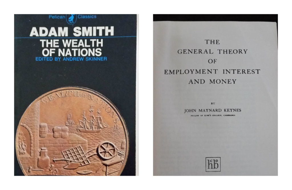 """Collage with two images. The first is a picture of the book cover for Adam Smith's """"The Wealth of Nations"""" and the other is the title page for John Maynard Keynes' """"The General Theory of Employment Interest and Money"""""""