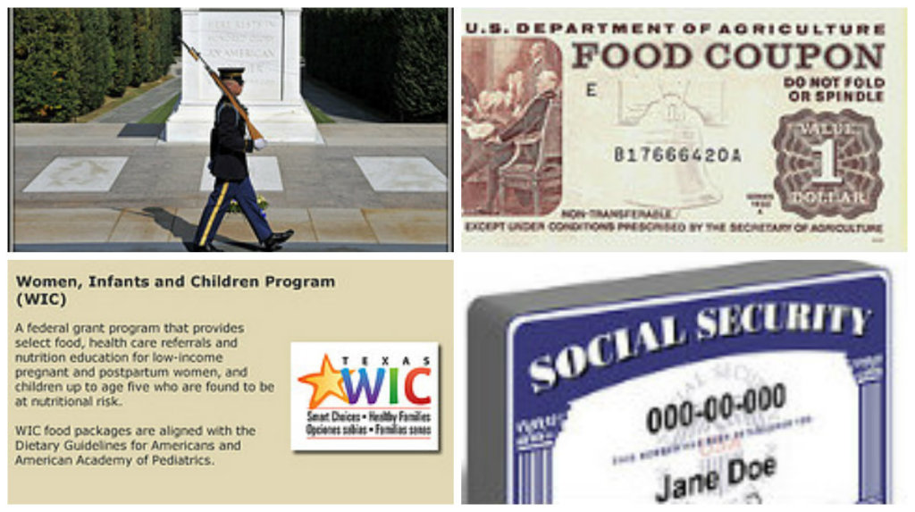 "Govt Spending Collage. A photograph of a soldier guarding the tomb of the unknown soldier, an old food stamp, a description of the WIC program, and a Social Security card for ""Jane Doe"""