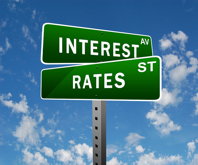 Digitally created image of a street sign showing the intersection between Interest Ave. and Rates St.
