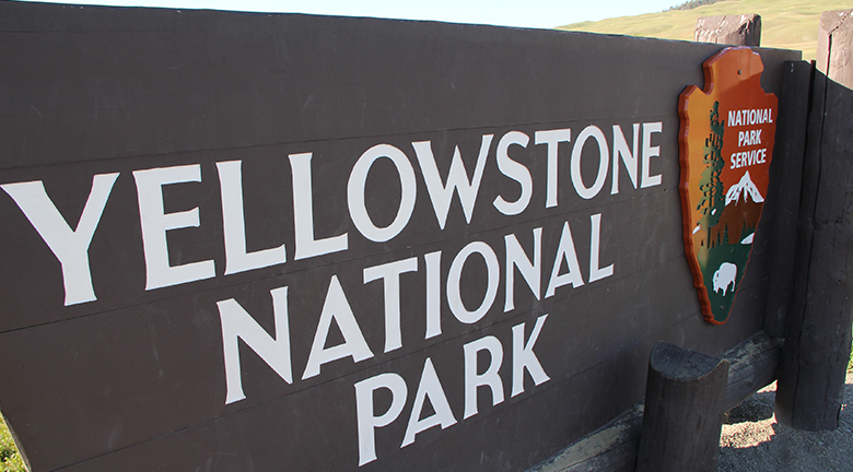 This image is a photograph of a sign for Yellowstone National Park.