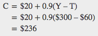 C = $20 + .09 (Y-T), which equals $20 + .9($300-$60) = $236
