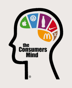 Image of the outlined profile of a person whose brain is filled with the logos for Apple, Volkswagen, Coke, Nike, and McDonalds.