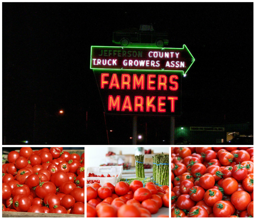 Four pictures in a collage. The largest picture show a sign in neon lights advertising a Farmer's Market in Jefferson County, then the three others show tomatoes piled up and ready to be sold at a market.