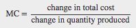 Equation showing that MC=changeintotalcost divided by the changeinquantityproduced