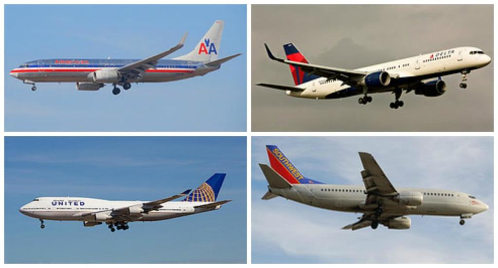 Four images of flying airplanes. The four airplanes shown are Delta, American Airlines, United, and Southwest.
