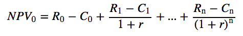 Equation showing NPVo equals Ro - Co + (R1-C1)/(1+r) + ... (Rn-Cn)/(1+r) to the nth degree