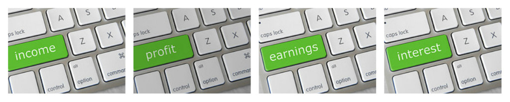 """Four photographs of a keyboard with the """"shift"""" key replaced with words related to money. The shift key instead says """"income,"""" """"profit,"""" """"earnings,"""" and """"interest."""""""