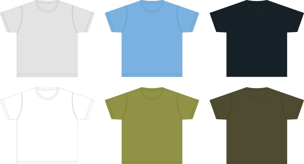 Six different t-shirts each a different color: grey, blue, black, white, light green, and dark green.