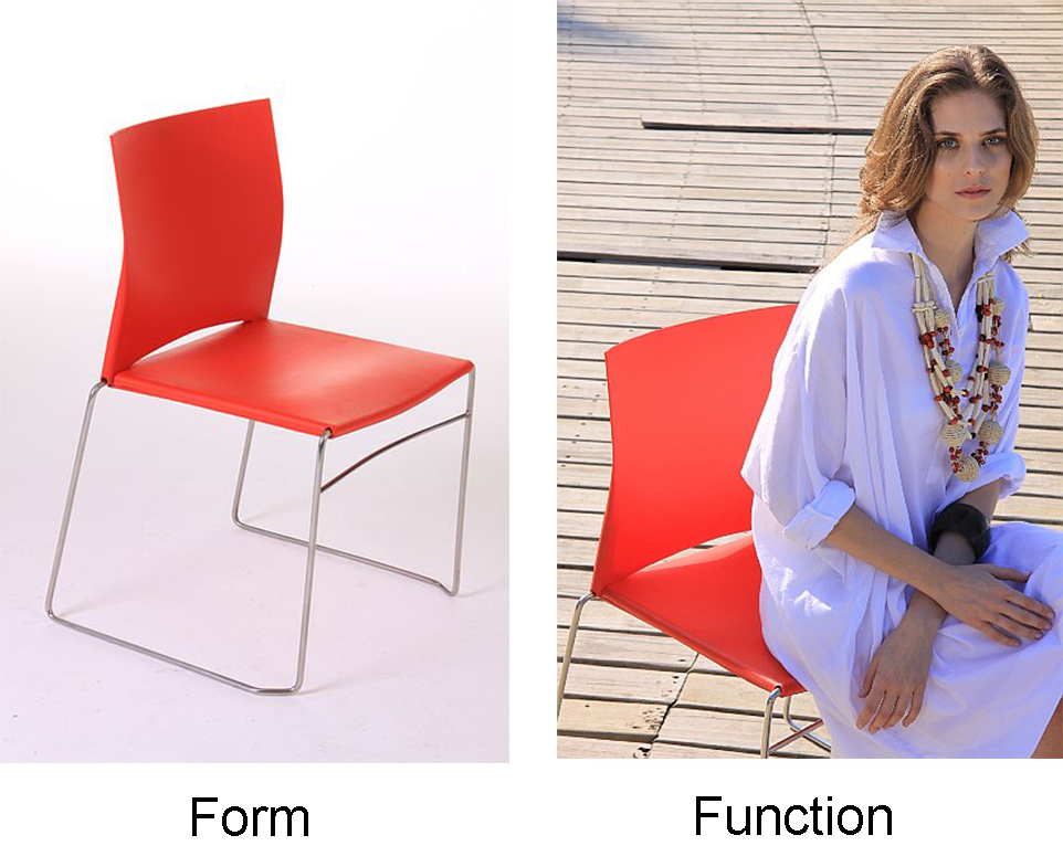 A two part image. The first part is a photo of an empty chair labelled Form. The second part of the image is a photograph of a woman sitting in a chair. This is labelled Function.