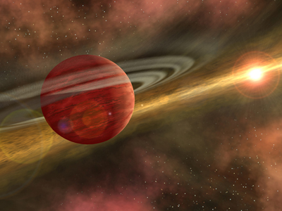 The figure shows a closed view of a red planet in the sky, with a sun like object seen at the far right and the planet shown here being surrounded by circles of gas and dust.