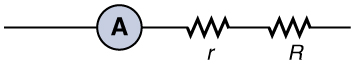 The figure shows part of a circuit that includes an ammeter with internal resistance r connected in series with a load resistance R.