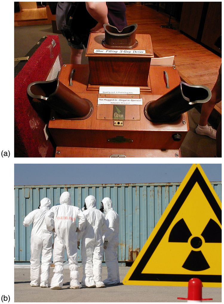 Figure A shows an x-ray flourescence machine, which looks like a wooden box with eye holes where one can see an x-ray of feet inside of shoes. The next image shows a group of men wearing hazmat suits gathered by a hazardous radiation sign.