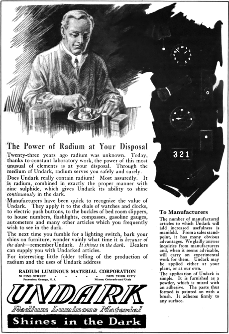 The image shows an old advertisement of radium material branded as UNDARK with the tagline